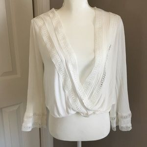 Bleuh Ciel Embroidered White Blouse Sz.Sm